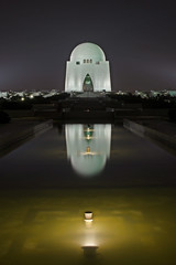 Tomb (Fayyaz Ahmed) Tags: white reflection building topf25 water architecture night pond tomb surreal mausoleum quaid mazar azam exhibition14august