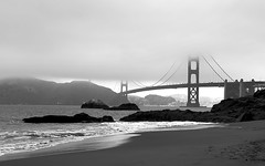 Baker Beach (disneymike) Tags: sanfrancisco california bridge blackandwhite mist beach fog nikon d2x goldengatebridge goldengate nikkor 1735mmf28d bakerbeach nikonstunninggallery