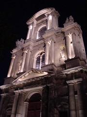 Church at Night (Nola Nate) Tags: light shadow paris france building church night dark columns structure nite ibeauty