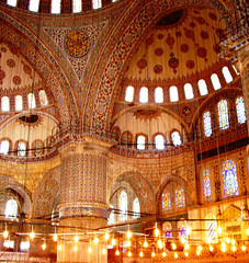 Inside Blue Mosque (Che-burashka) Tags: history saint architecture turkey lights worship interior muslim joy culture istanbul mosque ornament inspirational bluemosque islamic islamicdome insightthemosque