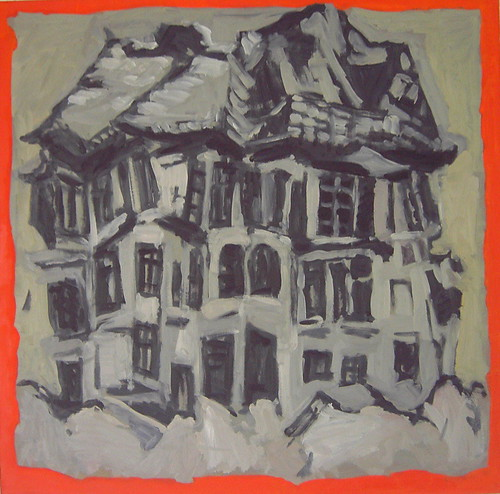 Collapsing House, 2006, oil on masonite board