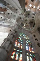 Stained glass (nathangibbs) Tags: barcelona church architecture europe cathedral canoneos10d stainedglass ceiling gaud unfinished catalunya sagradafamilia lasagradafamilia underconstruction incomplete antonigaud canon1740mmf4l templeexpiatoridelasagradafamlia