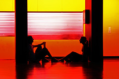 friends (SophieMuc) Tags: light red people orange color topf25 yellow topf50 silhouettes
