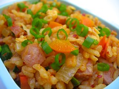 Kimchi spam fried rice for toddler