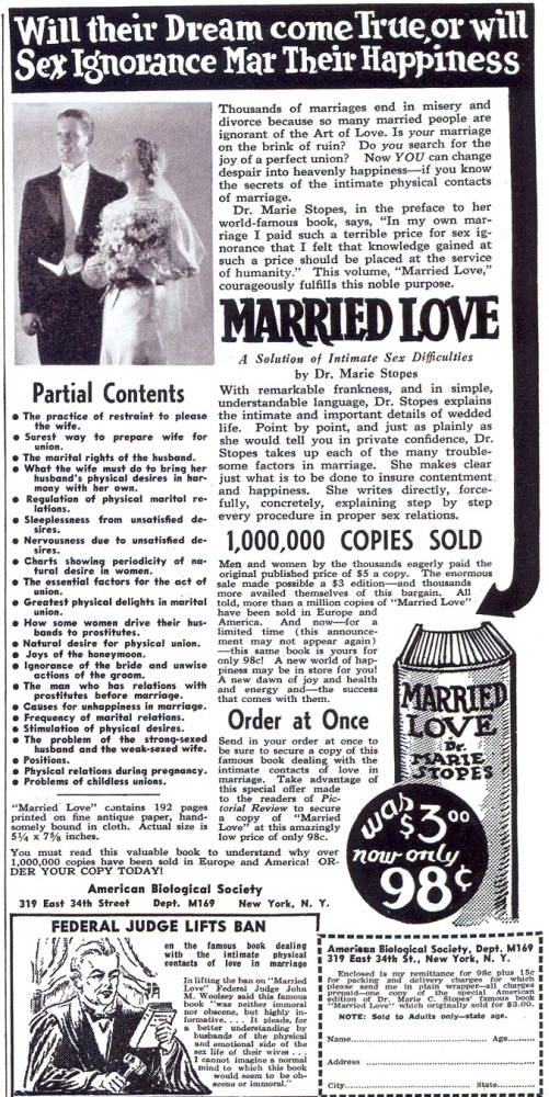 Married Love ad, 1938