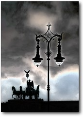 ~Statue on top of the Brandenburg Gate~ (RottieLover) Tags: light building berlin statue architecture clouds buildings germany nikon brandenburggate d200 18200mm mapberlin berlingate 18200mmf3556gvr thecontinuum 123travel obsessiveflikrites