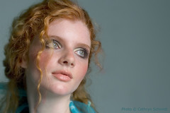 Teal 05 (Cathryn's Gallery) Tags: blue portrait woman 20d girl face fashion female canon catchycolors eos model turquoise teal freckles redhair