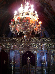Altar (Daquella manera) Tags: church temple interior hellas iglesia altar greece chandelier grecia orthodox rodos rhodes templo icono rodas dodecanese candelabro  ortodoxa dodecaneso panagiadelburbo panagiaburgo