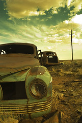 Rust (Andrew Hefter) Tags: old terrain color green car yellow rock digital rural landscape 1930s nikon desert empty country nowhere rustic d200 5hits