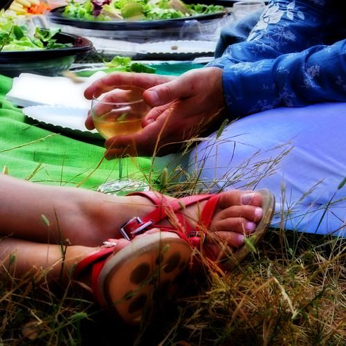 closeup of a romantic picnic