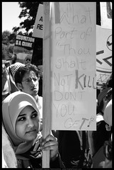 Thou Shalt Not Kill (danny.hammontree) Tags: blackandwhite bw lebanon usa art march israel washingtondc washington bush districtofcolumbia nikon war peace unitedstates iran god palestine flag muslim georgewbush fear faith georgebush politics iraq whitehouse rally religion protest d2x middleeast photojournalism saturday august 2006 christian demonstration arab antiwar violence jew jewish zionism judaism antibush nikkor fascism beirut lafayettepark israeli activist liban violent  palestinian occupation orthodoxjews waronterror marches rallies coexist  hammontree digitalgrace nikond2x  peacemovement dannyhammontree wwwdigitalgracecom warsucks  sfchronicle96hours freelebanon       20060812