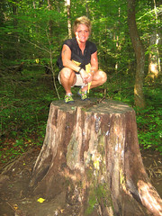 Me on a HUGE Stump (PLEAZnJANE) Tags: trees portrait people woman girl tattoo forest hiking posing redhead stump joyce kilmer keens