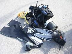 My kit (norwichrocks) Tags: belt snorkel tank mask scuba diving torch gloves hood weymouth fins wetsuit bcd weights shortie regulator regs summer2006 smbreel netbag bloodyheavy norwichrocks