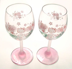 Hello Kitty Sakura Wine Glasses (pkoceres) Tags: pink kitchen glass japan wine hellokitty sanrio  cherryblossom sakura tableware dishware    boughtonebay hellokittysakura