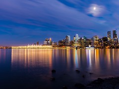 Vancouver settles in for the night. (Spencer Finlay) Tags: longexposure nightphotography reflection water vancouver lights downtown nightimages view stanleypark summernights vancity beautifulbc