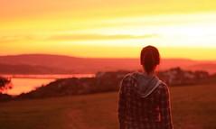 Self portrait, sunset (LauraJayneW) Tags: sunset red sea summer portrait sky sun beach water girl beautiful field yellow lady female self 50mm seaside sand glow devon coastline setting canondslr exmouth 450d