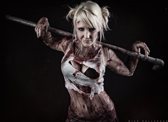 Model: Raychul Moore (Mike Rollerson Photography) Tags: pink red halloween girl outfit scary blood model uniform cosplay top bra pipe makeup skirt drip blonde horror bruise bloody schoolgirl dripping airbrush sfx specialfx raychulmoore raychul