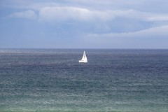 106. Little White Yacht @ St Combs (GraynKirst) Tags: blue sea sky cloud white green water clouds sailboat scotland boat aberdeenshire yacht horizon sails azure bluesky northsea sail mast seagreen stcombs kirstyjarman