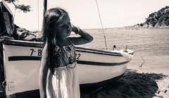 my girl (nicouze) Tags: portrait blackandwhite beach girl monochrome boat spain noiretblanc style espana bateau espagne fille plage nicouze
