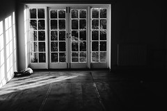 The Big Window (CamMonkeh) Tags: light shadow blackandwhite house home window glass lumix prime doors emptyroom sunny simple minimalist wandlebury patiodoors shaftoflight primelens gx7 microfourthirds 20mm17