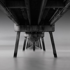 Early under the Pier (josesuro) Tags: bw film beach landscapes florida piers fineart 4x5 2009 largeformat ftwaltonbeach acros100 floridapanhandle rodenstock150mmf56aposironars ebonysv45ti jaspcphotography
