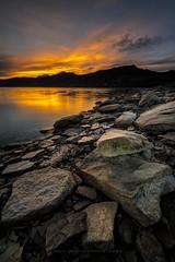 Morning glow (RobiG60) Tags: lake water lago gold dawn rocks glow alba rocce acqua paesaggio oro d800 campotosto
