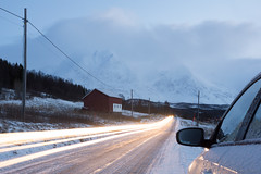 Driving home for Christmas (OR_U) Tags: road longexposure winter light house snow mountains ice car norway season mirror traffic le oru approaching troms lighttrail hss 2015 chrisrea svensby sliderssunday isskardtindane sofiatind