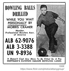 1958 bowling hoffman's clinton square (albany group archive) Tags: ny yellow square alley pages clinton ad lane bowling 1958 albany morris cramer hoffmans