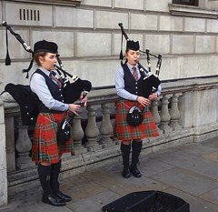 Busking in Whitehall (Snapshooter46) Tags: london busking buskers streetmusicians bagpipes whitehall entertainers kilts people