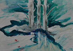 Kim's Snowy Creek (BKHagar *Kim*) Tags: bkhagar painting paint acrylic art artwork creek snow snowy snowbank trees white water