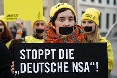 STOP NSA (politicsandmore) Tags: protest gagged amnesty cyber law politics 50mm portrait activists girls amnestyinternational human rights