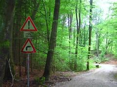 Schilder im Wald (christophrohde) Tags: grünwald schilder radweg vorsicht bayern