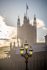 LampLight (MaxSkyMax) Tags: lamp london uk canon light mist sun winter day clouds flag unionjack house parliament dof tower cloudy
