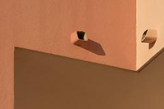 Two drains (Jan van der Wolf) Tags: map159218v lines lijnen house colors tones ocre regenpijp regenpijpen drains shadow schaduw