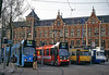 GVB trams Nos. 915, 833, 704 and 608 outside Amsterdam Centraal Station on  30 Mar 2002 (Trains and trams eveywhere) Tags: amsterdam gvb centraal station publictransport bn beijnes werkspoor tram streetcar