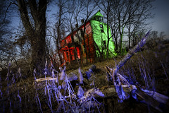 Red-Green House (Notley) Tags: dutchangle rural missouri notley notleyhawkins 10thavenue httpwwwnotleyhawkinscom missouriphotography notleyhawkinsphotography lightpainting bluelight greenlight blue green night nocturne 光绘 光繪 lichtmalerei pinturadeluz ライトペインティング प्रकाशपेंटिंग ציוראור اللوحةالضوء abandoned sky longexposure ruralphotography trees chartitoncountymissouri facade fall windows 2016 red redlight rgb outdoor serene architecture house 2017 january