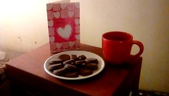 Happy Valentine's day! (Maenette1) Tags: valentine coffee mug plate chocolate cookies candy happyvalentinesday menominee uppermichigan flickr365