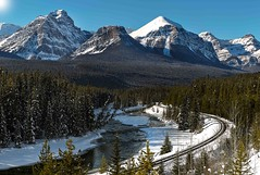 Morant's Curve (Terry L Richmond) Tags: banffnationalpark bowvalleyparkway morantscurve banff alberta canada rocky mountains canon6d canon1740 panorama stitched winter railway canadian pacific railroad cpr
