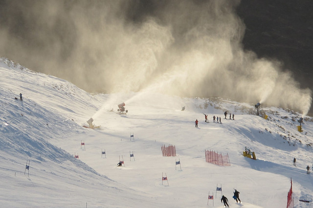 Snow Making on Main Street, Treble Cone NZ (27 August 2013)