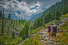 Hiking up to   Refuge Boval (Bovalhtte), Cabane de Boval. Bernina area. August 13, 2015. No,8153. (Izakigur) Tags: summer sky green topf25 clouds schweiz switzerland nikon flickr suisse hiking swiss glacier topf150 lepetitprince bernina myswitzerland nikond700 izakigur climbeeverymountain