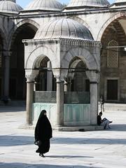 Blue Mosque (Mathijs Buijs) Tags: blue sun canon court turkey eos europe muslim prayer middleeast hijab center istanbul mosque niqab plain burka carsaf 400d