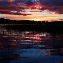 Milton Loch Sunset 3rd Sept 2015 (Mike Bolam) Tags: autumn sunset water reflections scotland loch dumfriesgalloway wetfeet miltonloch canoneos6d mikebolam