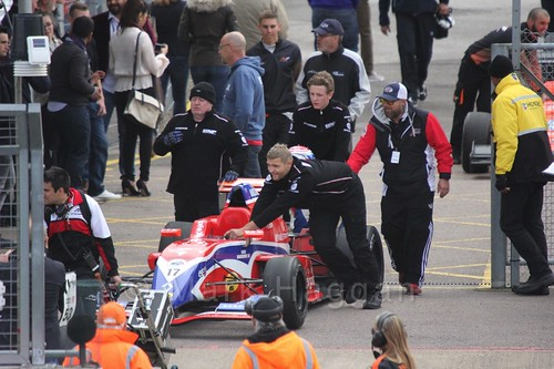 Dennis Olsen's Manor MP Motorsport car head to the grid for the first Renault 2.0 race at Silverstone 2015