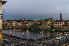 Night falls on Florence (BAN - photography) Tags: bridge trees people church birds buildings reflections tourists spire pont arnoriver lamplights d800e