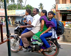 School run.. (Mike-Lee) Tags: family mike bike jill bikes motorbikes pondicherry schoolrun india2015 sept2015