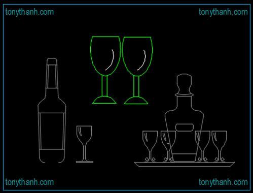 Cad block wine glass, cad blocks glasses, wine glass cad