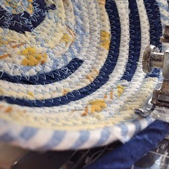 "I think that a blue and yellow egg basket is the perfect way to start my day at the sewing machine. Here's hoping that you agree because this lovely basket is taking shape and headed to our Etsy Shop!  #1840Farm #FarmhouseStyle #basket #fabric #sew #handm • <a style=""font-size:0.8em;"" href=""http://www.flickr.com/photos/54958436@N05/22045132346/"" target=""_blank"">View on Flickr</a>"
