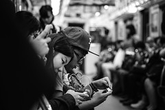 Tokyo_Subway_Passengers_Connected (Vincent Albanese) Tags: life street new city light people bw woman sunlight man japan dark photography tokyo fuji shadows sydney inspired streetphotography saturday australia fresh explore fujifilm midday lightroom presets xt1 mirrorless xpro1 inspiredeye xf27mm