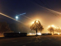 (alexwinger) Tags: road autumn trees light mist fog evening iphone