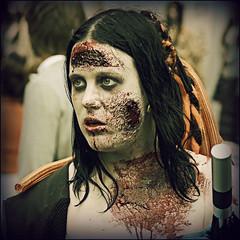 Zombie time (*Kicki*) Tags: portrait woman halloween face square dead person death scary blood nikon sweden stockholm zombie makeup ugly horror d100 wound walkingdead zombiewalk
